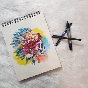 Piccadilly Watercolor Skull Drawing Notebook 200pg